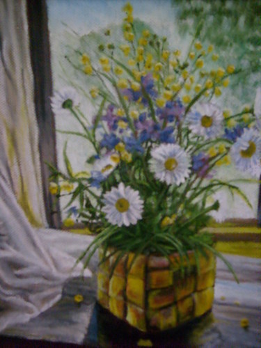 """Painting titled """"Jolly daizies"""" by Artyom Ukhov, Original Art, Oil"""