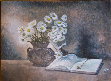 """Painting titled """"Daizies in the pot"""" by Artyom Ukhov, Original Art, Oil"""