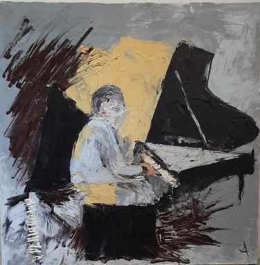 """Painting titled """"Bill Evans in Grey"""" by Arena Jacques, Original Art, Oil"""