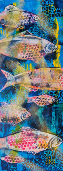 """Painting titled """"Fishes in sea"""" by Ariadna De Raadt, Original Art, Acrylic"""