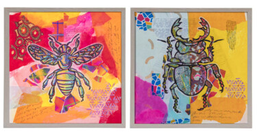 """Painting titled """"Small Insects 1 and…"""" by Ariadna De Raadt, Original Art, Collages"""