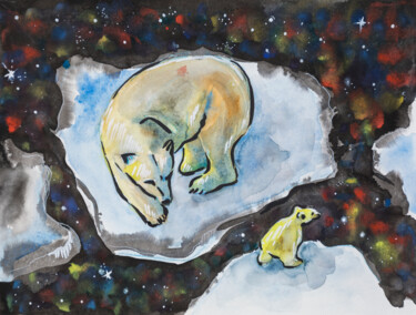 """Painting titled """"Constellation Family"""" by Ariadna De Raadt, Original Art, Watercolor"""