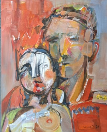 Love Painting, acrylic, expressionism, artwork by Armen Ghazayran (Nem)