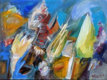 Abstract Painting, acrylic, expressionism, artwork by Armen Ghazayran (Nem)