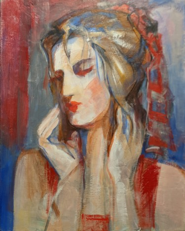 Women Painting, acrylic, expressionism, artwork by Armen Ghazayran (Nem)