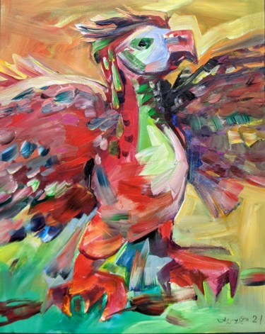 Bird Painting, acrylic, expressionism, artwork by Armen Ghazayran (Nem)