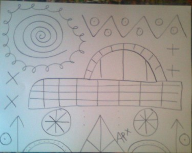 """Drawing titled """"voiture"""" by Andy Pilgrimm, Original Art,"""