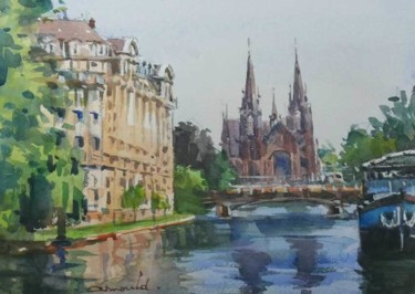 """Painting titled """"Strasbourg"""" by Christian Arnould, Original Art, Watercolor"""