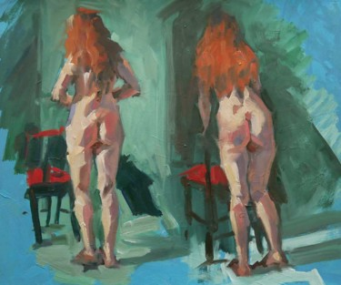 """Painting titled """"Exercice filmé (mod…"""" by Christian Arnould, Original Art, Oil"""
