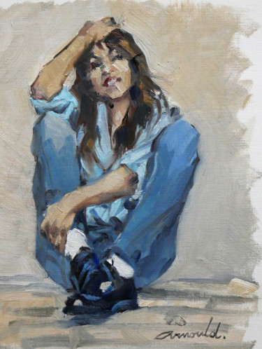 """Painting titled """"Charlotte (huile su…"""" by Christian Arnould, Original Art, Oil"""