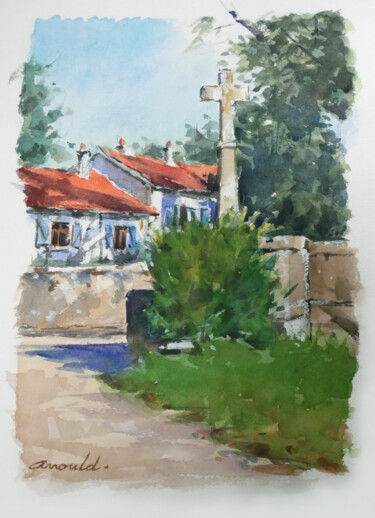 """Painting titled """"Calvaire à Pulligny…"""" by Christian Arnould, Original Art, Watercolor"""