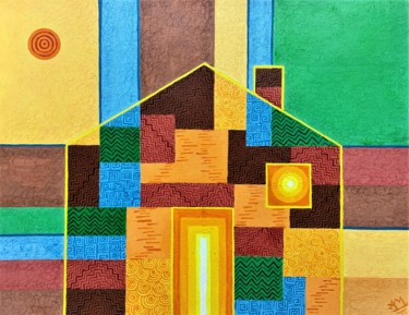 Geometric Painting, acrylic, abstract, artwork by Arpa Mukhopadhyay