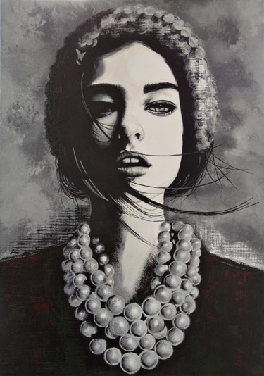 """Painting titled """"Girl with necklace"""" by Livien Rózen, Original Art, Acrylic"""