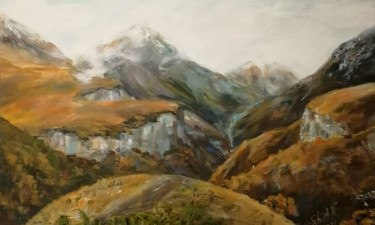 Mountainscape Painting, acrylic, impressionism, artwork by Natalia Shestopalova