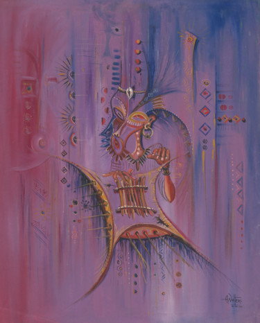 """Painting titled """"Sanza Player"""" by Angu Walters, Original Art, Oil"""