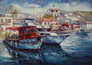 """Painting titled """"Yachts, 2020"""" by Artem Grunyka, Original Art, Oil"""