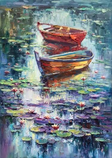 """Painting titled """"""""Morning Water-Lili…"""" by Artem Grunyka, Original Art, Oil Mounted on Stretcher frame"""