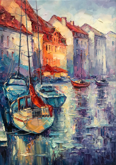 """Painting titled """"""""Boats"""""""" by Artem Grunyka, Original Art, Oil"""