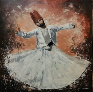 """Painting titled """"Enchanting dervish"""" by Daciana, Original Art, Acrylic Mounted on Stretcher frame"""