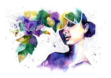 """Painting titled """"COURAGE - colorful…"""" by Valeria Amirkhanyan, Original Art, Watercolor"""