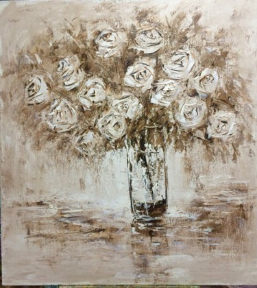 """Painting titled """"Roses and glass"""" by Alla Preobrazhenska-Ronikier, Original Art, Oil Mounted on Stretcher frame"""
