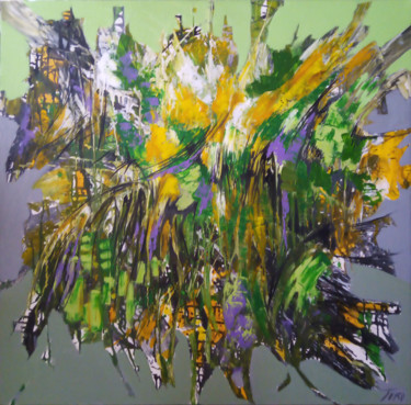 """Painting titled """"Emerald meadow"""" by Arthur Avalyan, Original Art, Oil Mounted on Stretcher frame"""