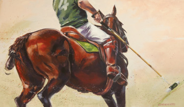 """Painting titled """"Polo Player"""" by C. Delagachette, Original Art, Acrylic"""