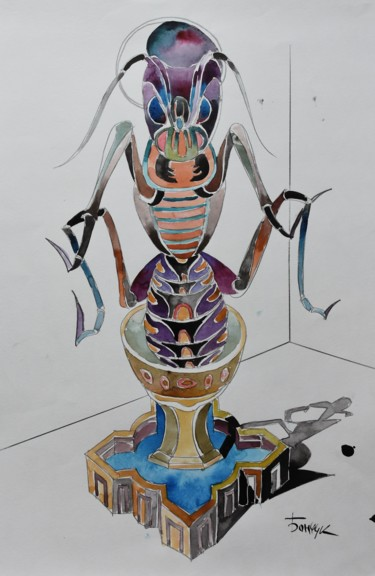 """Painting titled """"Insect Lord"""" by Roman Bonchuk, Original Art, Ink"""