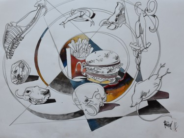 """Painting titled """"Recycling Evolution…"""" by Roman Bonchuk, Original Art, Ink"""