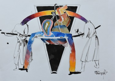 """Painting titled """"Forced Holiness"""" by Roman Bonchuk, Original Art, Ink"""