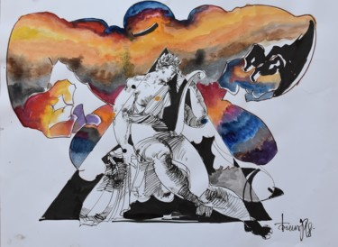 """Painting titled """"Sappho's Оbsession"""" by Roman Bonchuk, Original Art, Ink"""
