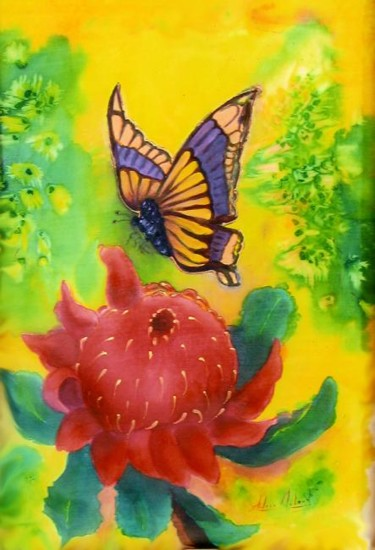 """Painting titled """"Waratah and Butterf…"""" by Aileen Mcleod, Original Art, Other"""