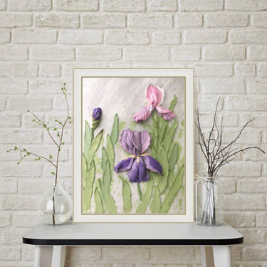 """Painting titled """"Flower painting Pal…"""" by Violetta Golovchenko, Original Art, Acrylic Mounted on Wood Panel"""
