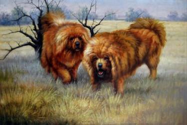 Dog Painting, oil, figurative, artwork by James Shang