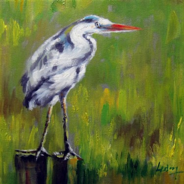 """Painting titled """"Blue Heron #001"""" by James Shang, Original Art, Oil Mounted on Stretcher frame"""