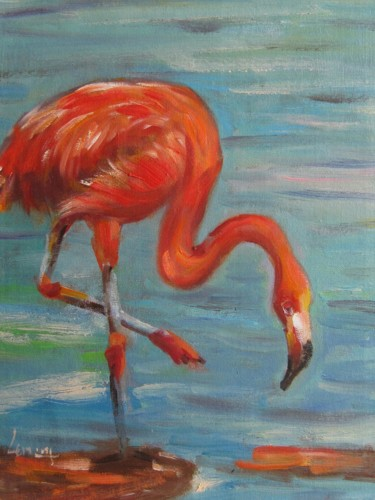 """Painting titled """"Flamingo #001"""" by James Shang, Original Art, Oil Mounted on Stretcher frame"""