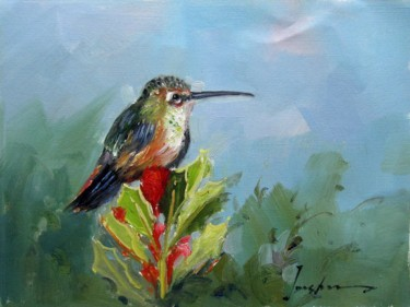 """Painting titled """"Hummingbird #105"""" by James Shang, Original Art, Oil Mounted on Stretcher frame"""