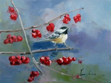 """Painting titled """"Sparrow #004"""" by James Shang, Original Art, Oil Mounted on Stretcher frame"""