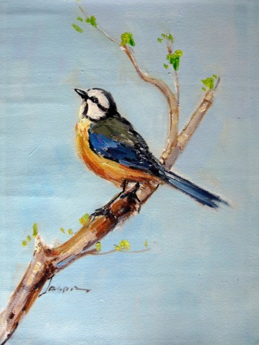 """Painting titled """"Sparrow #001"""" by James Shang, Original Art, Oil Mounted on Stretcher frame"""