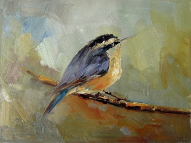 """Painting titled """"Sparrow #007"""" by James Shang, Original Art, Oil Mounted on Stretcher frame"""