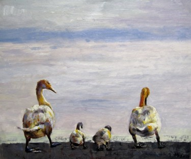 """Painting titled """"Duck family #001"""" by James Shang, Original Art, Oil Mounted on Stretcher frame"""
