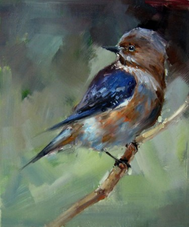 """Painting titled """"Sparrow #501"""" by James Shang, Original Art, Oil Mounted on Stretcher frame"""