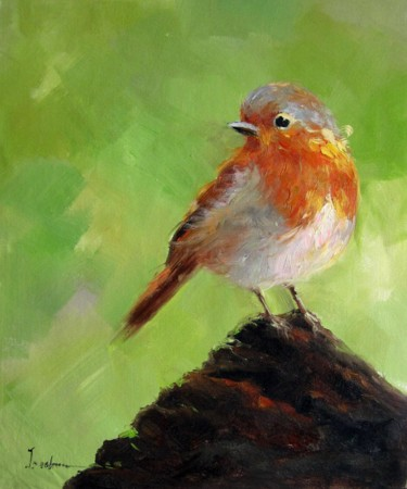 """Painting titled """"Sparrow #502"""" by James Shang, Original Art, Oil Mounted on Stretcher frame"""