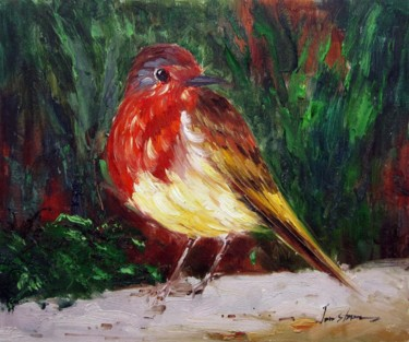 """Painting titled """"Sparrow #503"""" by James Shang, Original Art, Oil Mounted on Stretcher frame"""