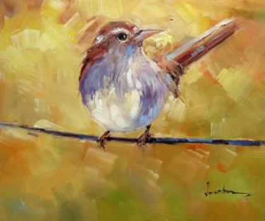 """Painting titled """"Sparrow #506"""" by James Shang, Original Art, Oil Mounted on Stretcher frame"""
