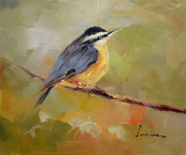 """Painting titled """"Sparrow #509"""" by James Shang, Original Art, Oil Mounted on Stretcher frame"""