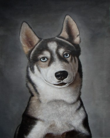 """Painting titled """"Pet dog 003"""" by James Shang, Original Art, Oil Mounted on Stretcher frame"""