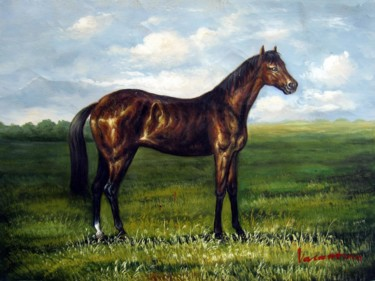 """Painting titled """"Horse #101"""" by James Shang, Original Art, Oil Mounted on Stretcher frame"""