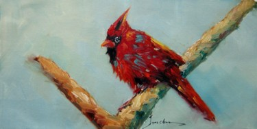 """Painting titled """"Cardinal #101"""" by James Shang, Original Art, Oil Mounted on Stretcher frame"""