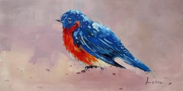 """Painting titled """"Sparrow #201"""" by James Shang, Original Art, Oil Mounted on Stretcher frame"""